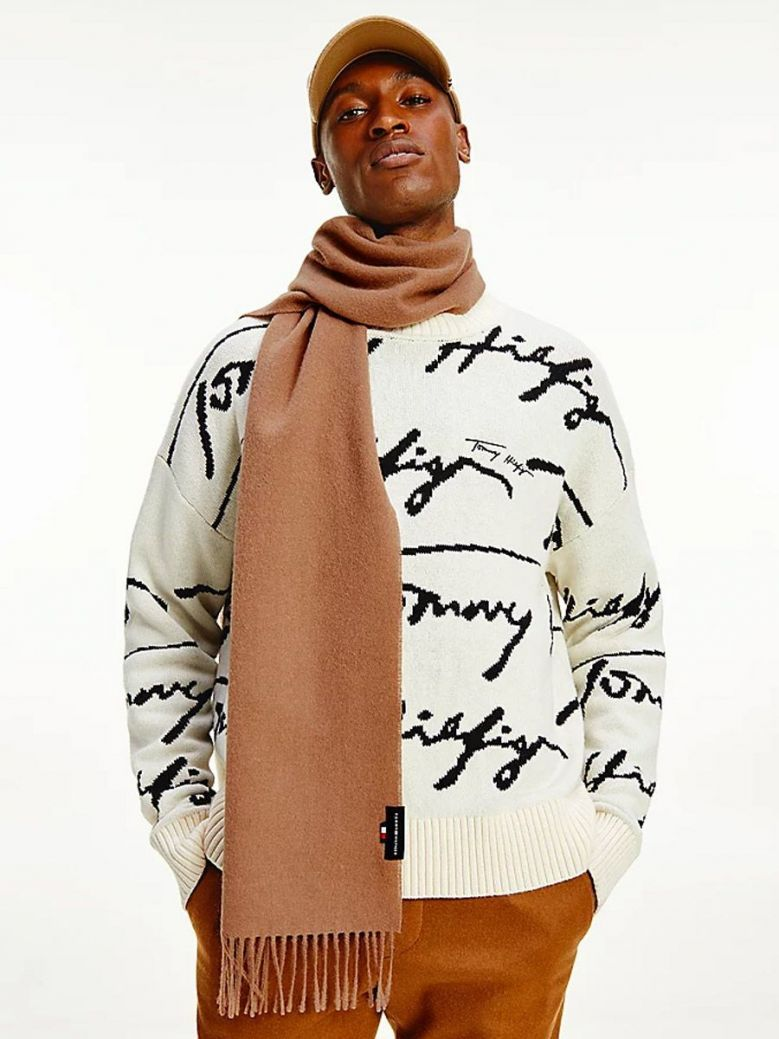 Tommy Hilfiger Uptown Pure Wool Scarf Camel