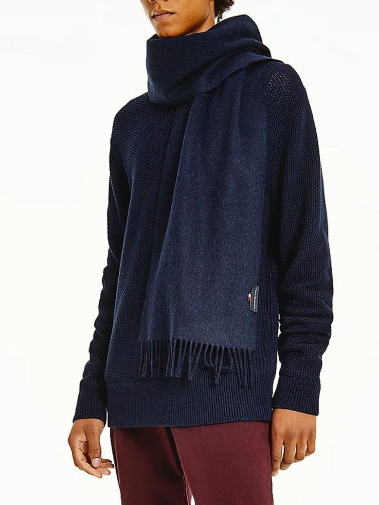 Tommy Hilfiger Uptown Pure Wool Scarf Navy