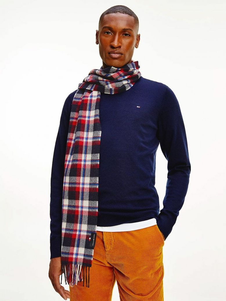 Tommy Hilfiger Uptown Tartan Check Pure Wool Scarf Red