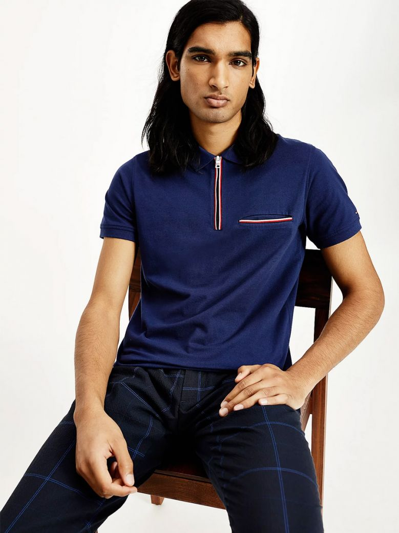 Tommy Hilfiger Zip Placket Slim Fit Polo Navy