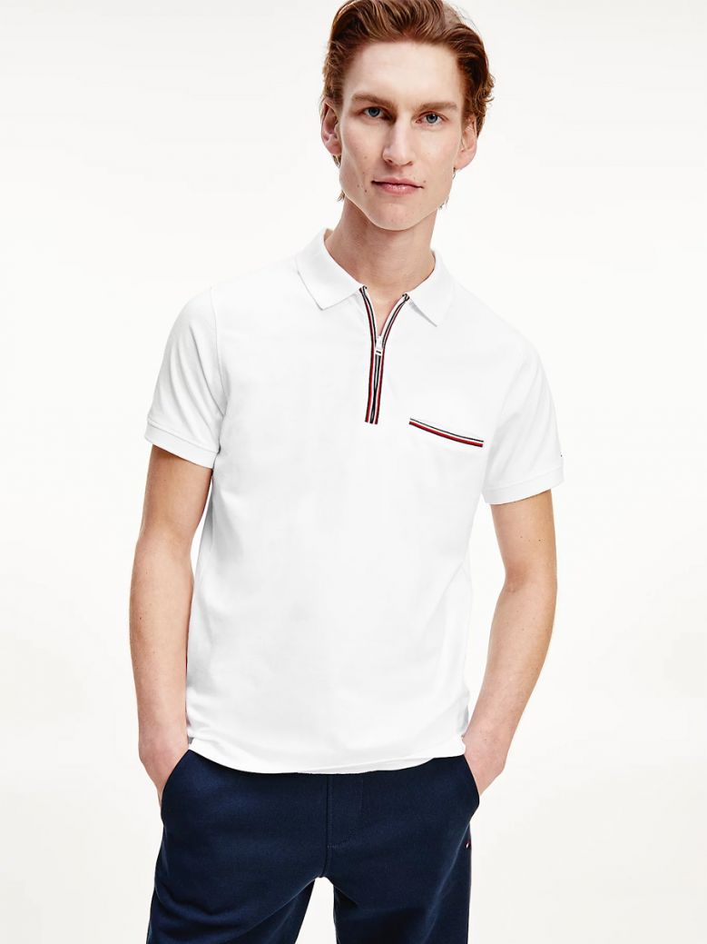 Tommy Hilfiger Zip Placket Slim Fit Polo White
