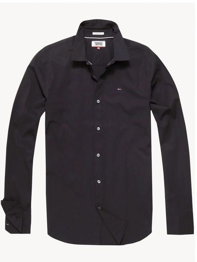 Tommy Jeans Mens Black Slim Fit Stretch Oxford Cotton Shirt