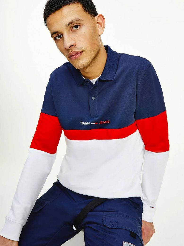 Tommy Jeans Colour-Blocked Cotton Long Sleeve Polo Navy