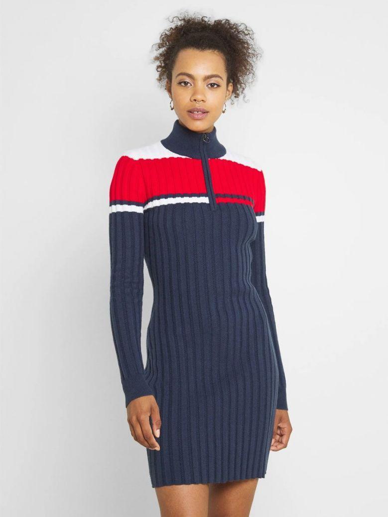 Tommy Jeans Colour-Blocked Half-Zip Jumper Dress Navy