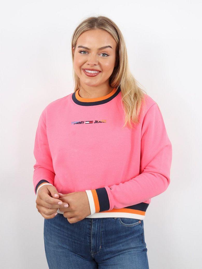 Tommy Jeans Contrast Rib-Knit Sweatshirt Pink