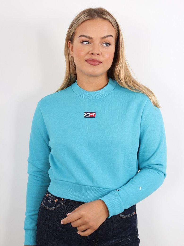 Tommy Jeans Cropped Crew Neck Sweatshirt Blue