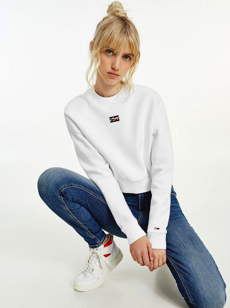 Tommy Jeans Cropped Crew Neck Sweatshirt White