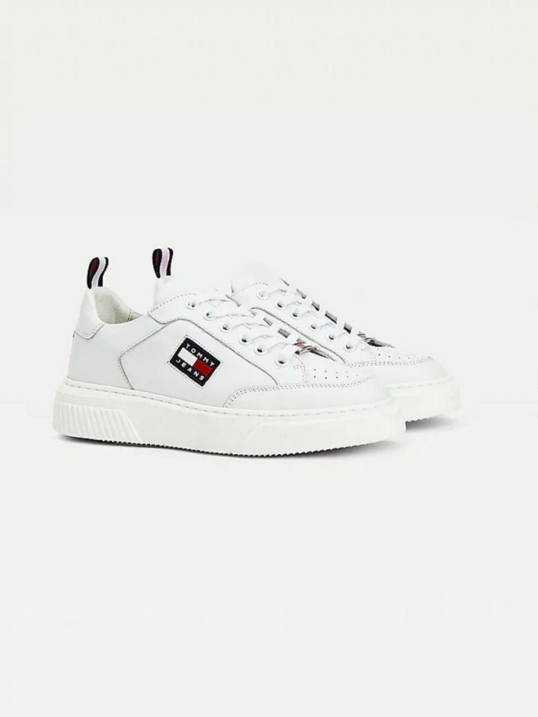 Tommy Jeans elevated Leather Cupsole Flatform Trainers White