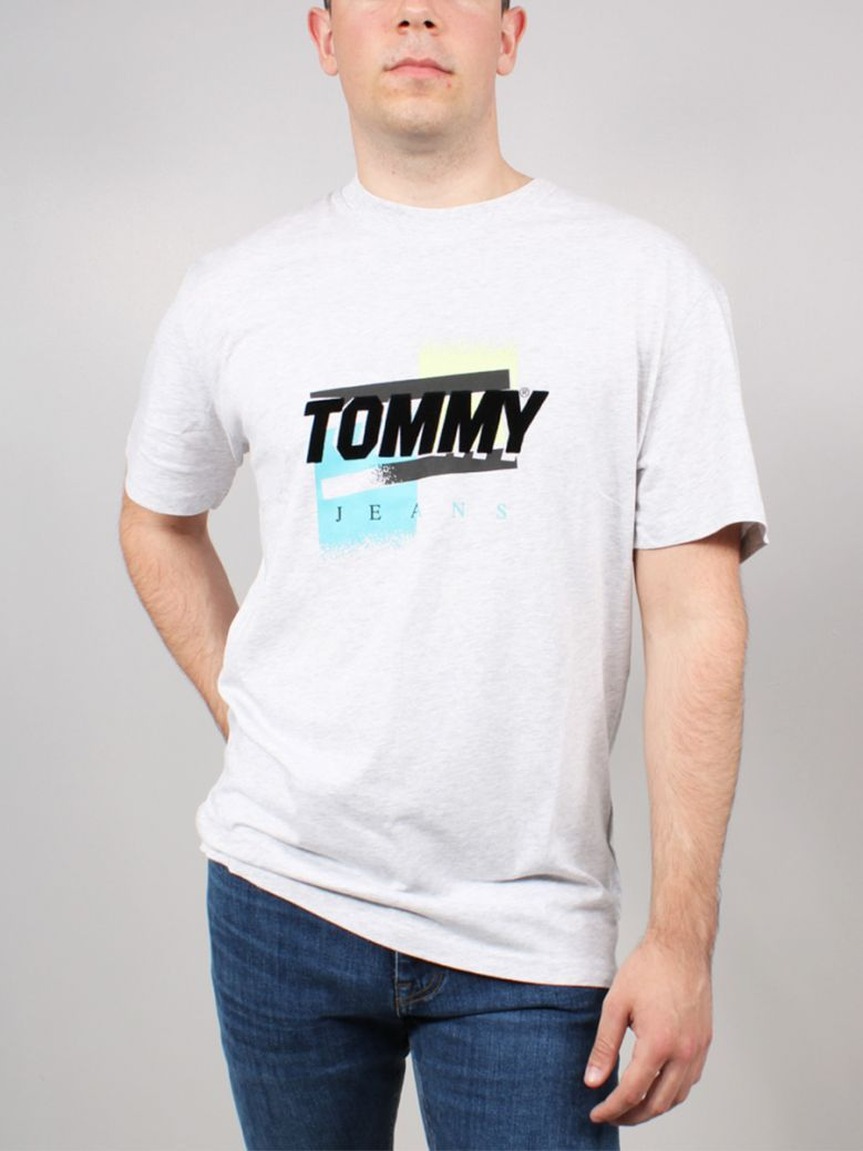 Tommy Jeans Faded Logo Organic Cotton T-Shirt Grey