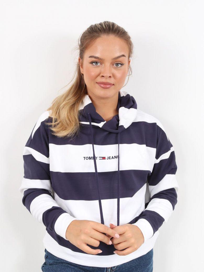 Tommy Jeans Front Logo Crop Hoodie Navy Stripe