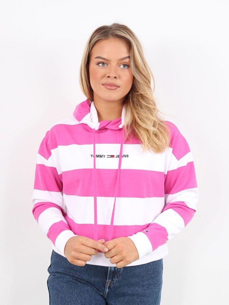 Tommy Jeans Front Logo Crop Hoodie Pink Stripe