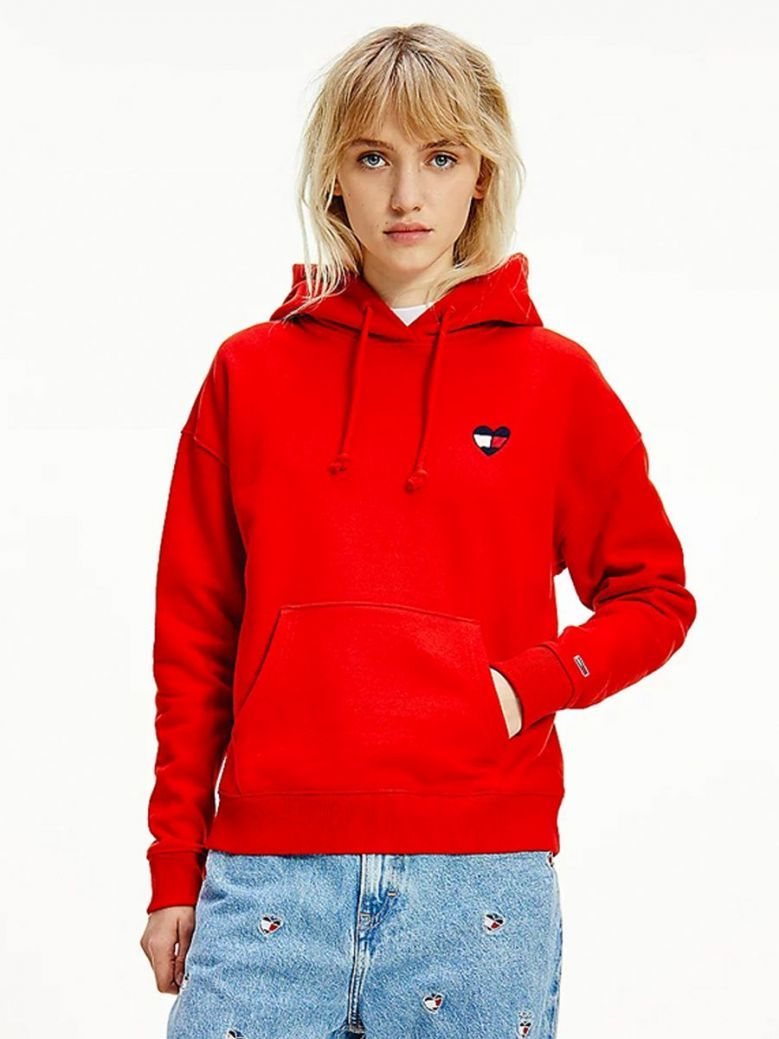 Tommy Jeans Heart Flag Boxy Hoodie Red