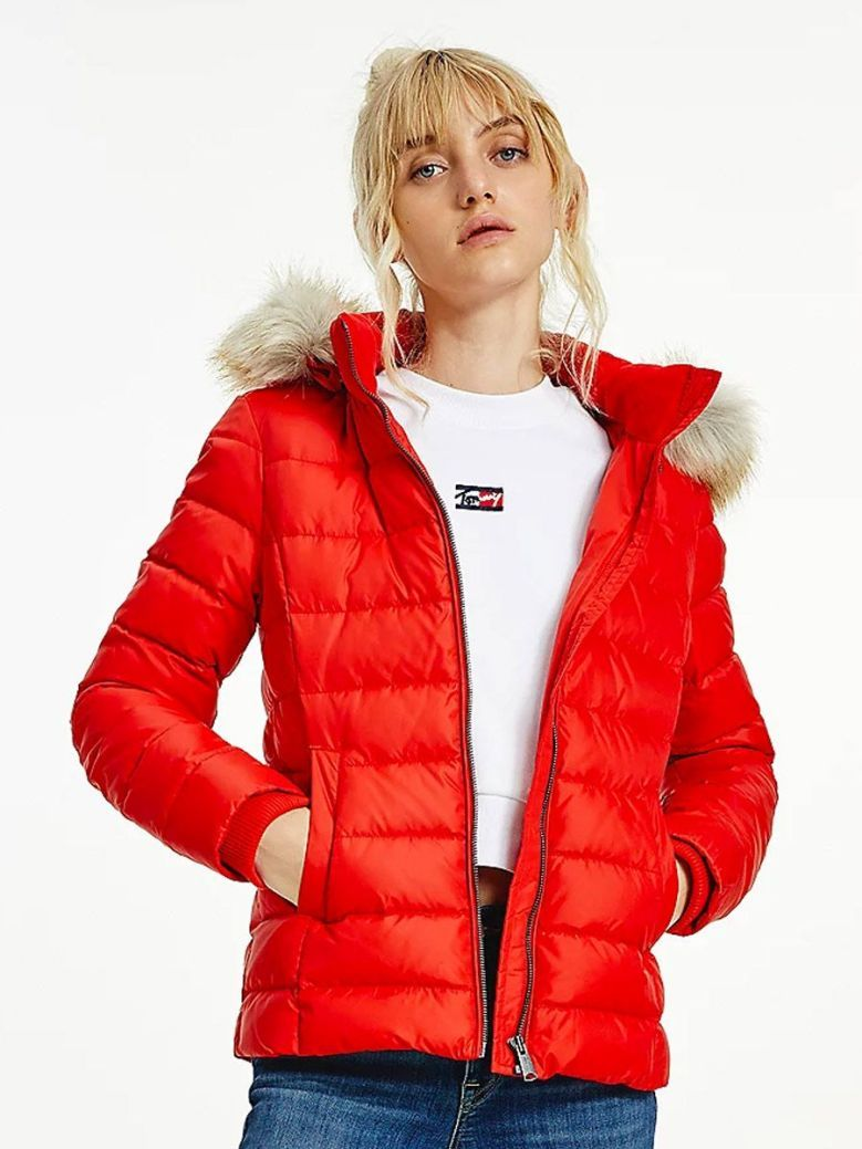 Tommy Jeans Hooded Down Jacket Red