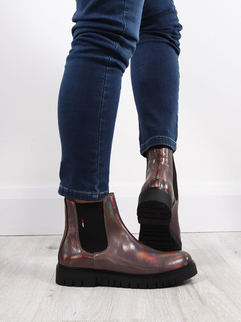 Tommy Jeans Iridescent Patent Chelsea Boot Multi