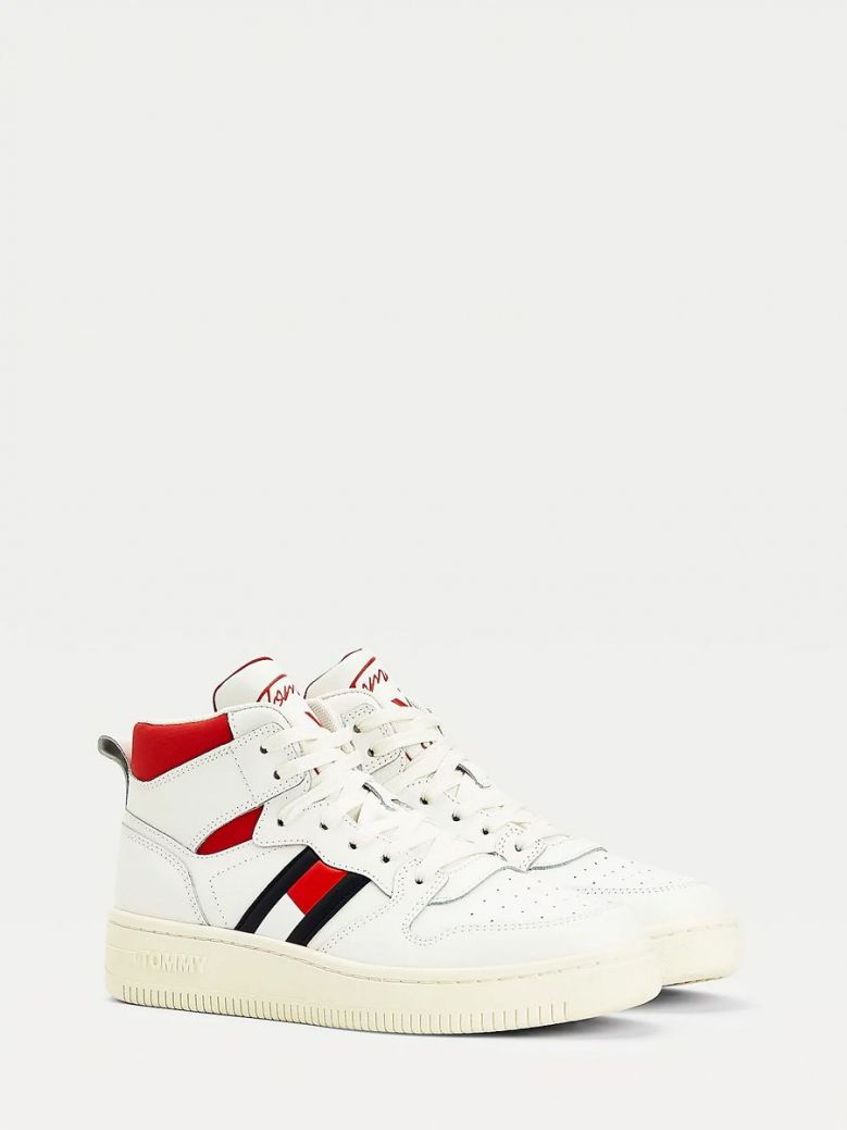 Tommy Jeans Leather High-Top Basketball Trainers Cream