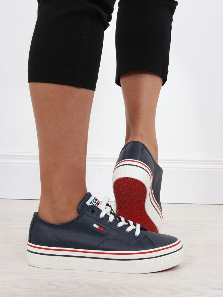 Tommy Jeans Leather Platform Trainers Navy