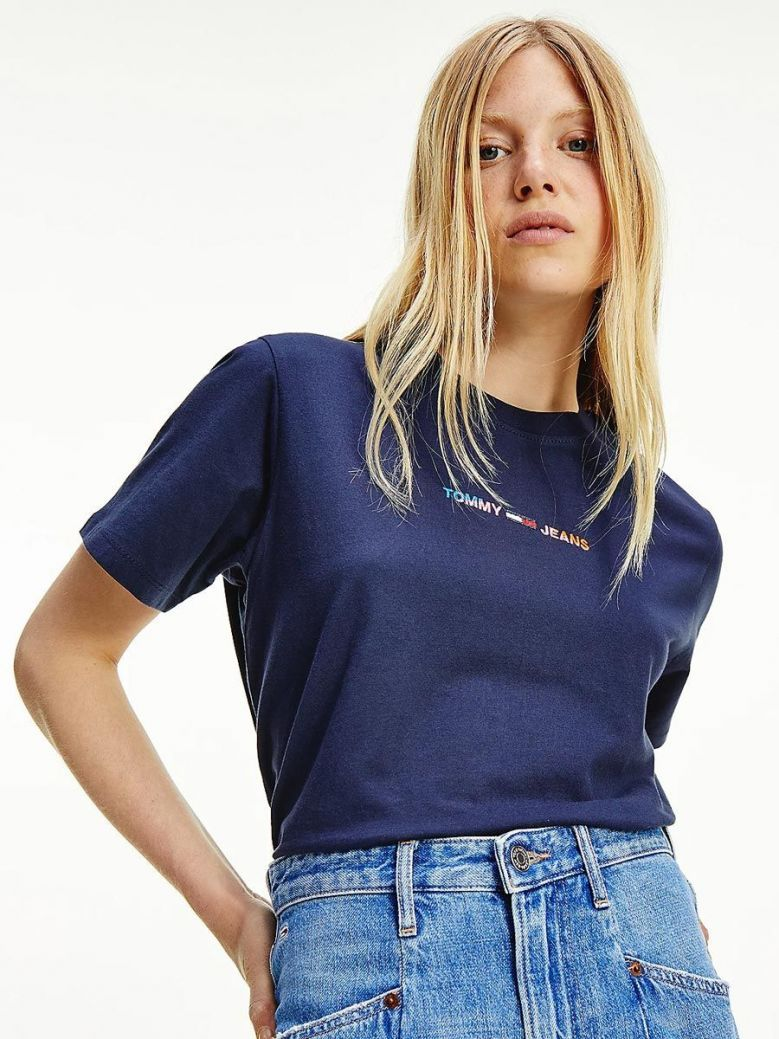 Tommy Jeans Logo Boxy Cropped T-Shirt Navy