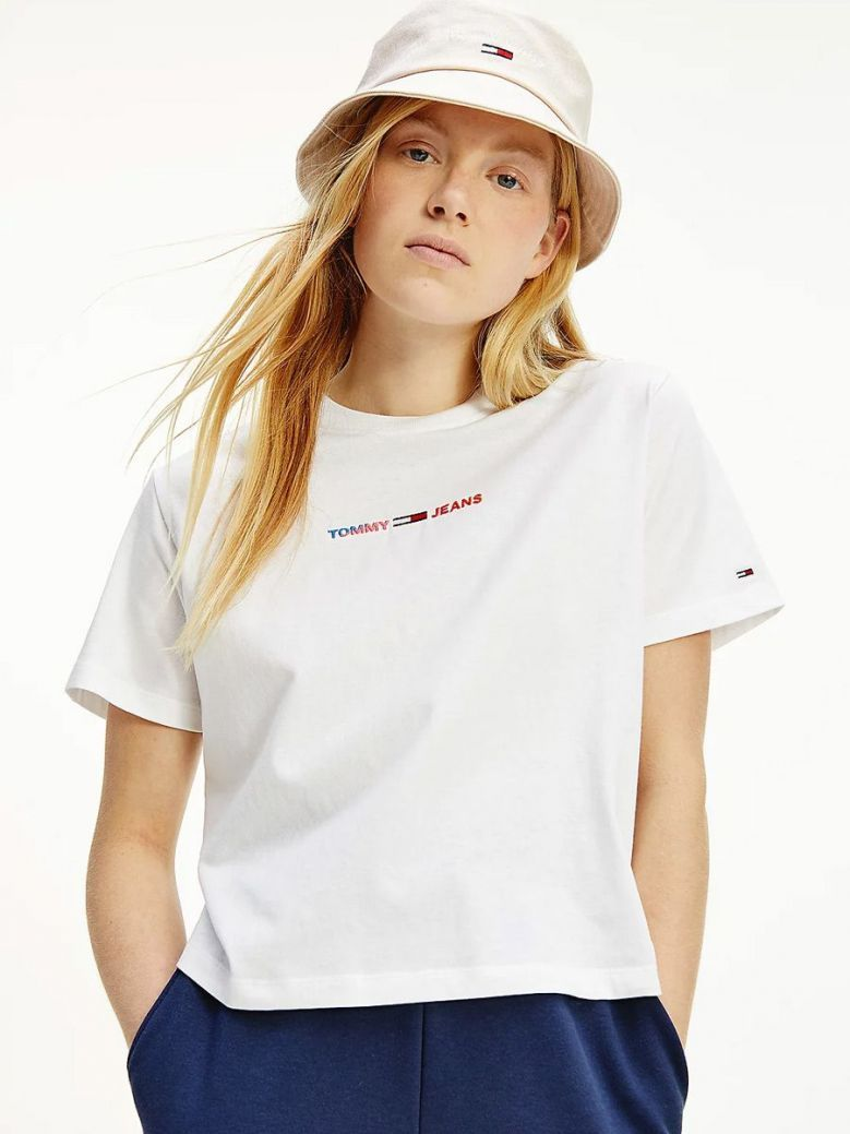 Tommy Jeans Logo Boxy Cropped T-Shirt White