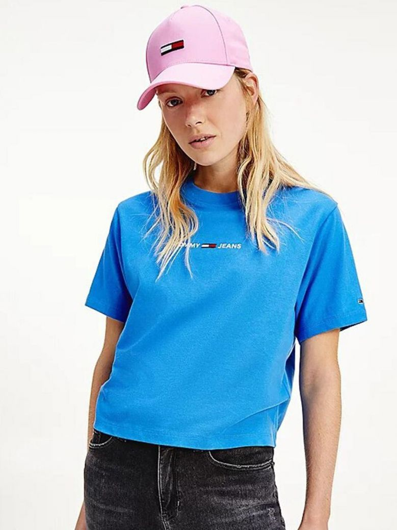 Tommy Jeans Logo Embroidery Organic Cotton T-Shirt Blue