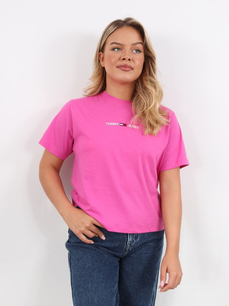 Tommy Jeans Logo Embroidery Organic Cotton T-Shirt Fuchsia