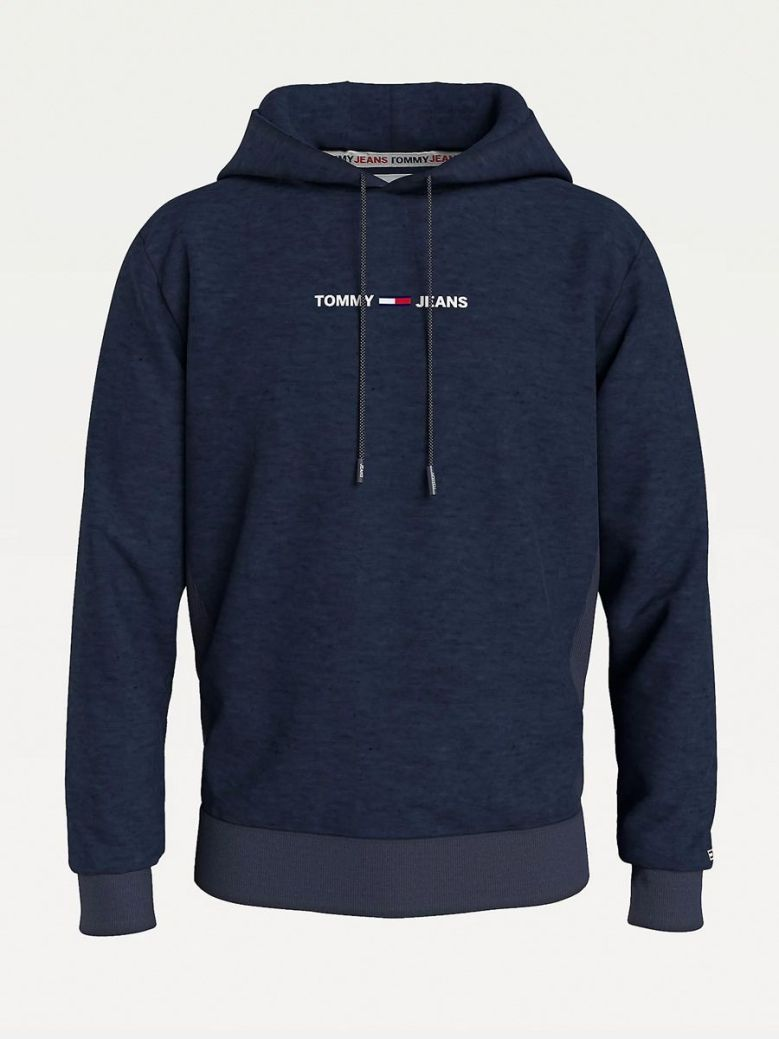 Tommy Jeans Logo Recycled Cotton Hoody Navy
