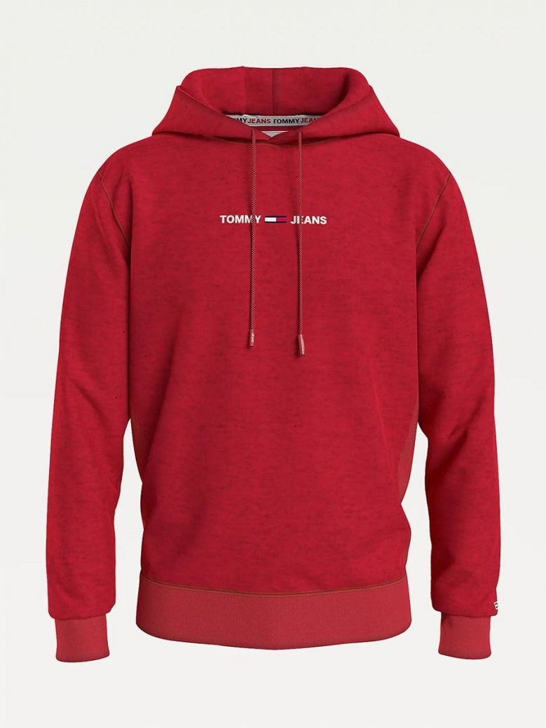 Tommy Jeans Logo Recycled Cotton Hoody Red