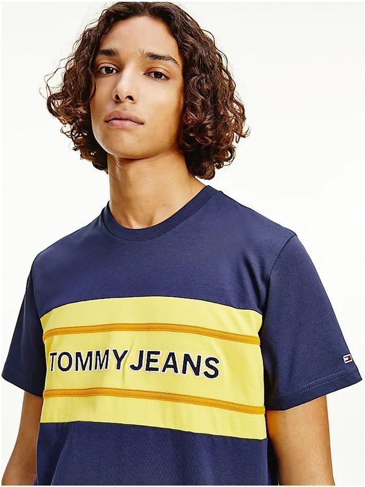 Tommy Jeans Men Organic Cotton Colour Block Logo T-shirt Navy