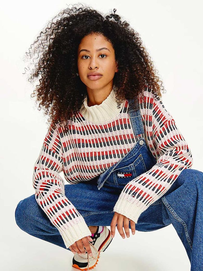 Tommy Jeans Multicolour Mixed Knit Jumper White