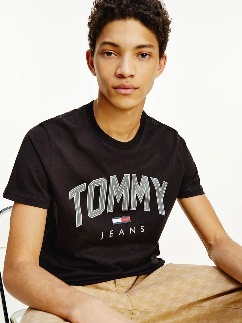 Tommy Jeans Shadow Logo Organic Cotton T-Shirt Black