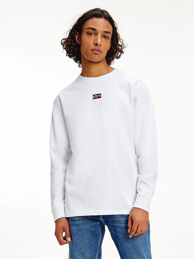 Tommy Jeans Signature Long Sleeve T-Shirt White