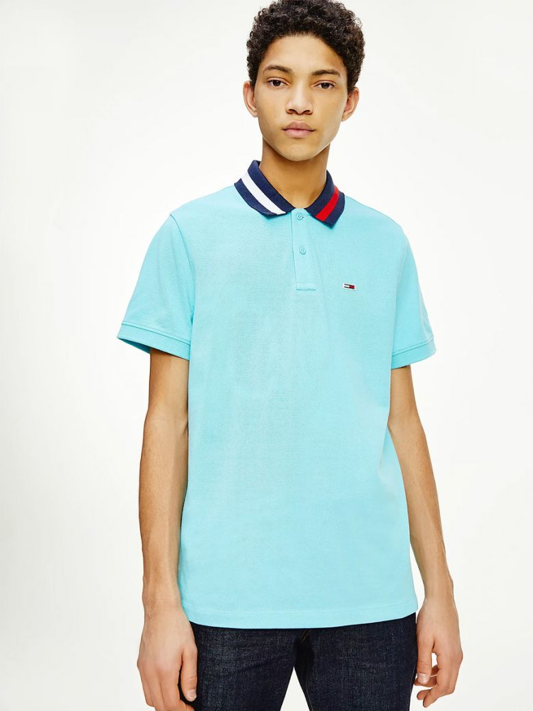 Tommy Jeans Tipped Collar Regular Fit Polo Blue