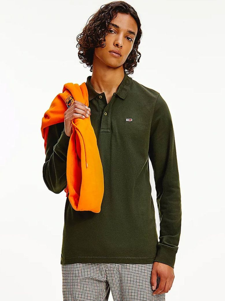 Tommy Jeans Tonal Long Sleeve Slim Fit Polo Green