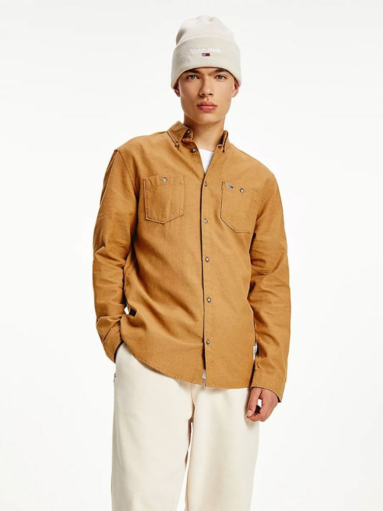 Tommy Jeans Two-Tone Oxford Cotton Shirt Brown