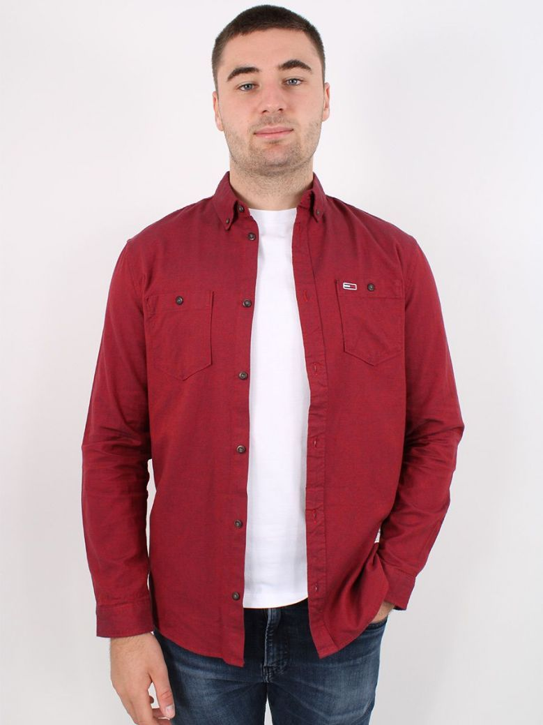 Tommy Jeans Two-Tone Oxford Cotton Shirt Red