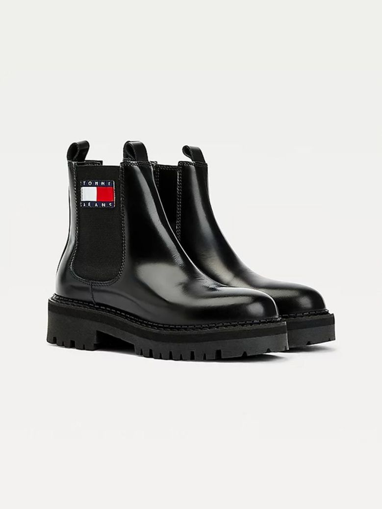 Tommy Jeans Urban Leather Cleat Chelsea Boots Black