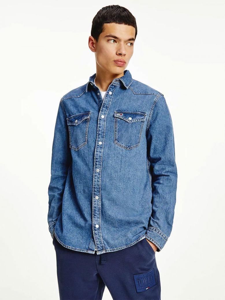 Tommy Jeans Western Denim Shirt Blue