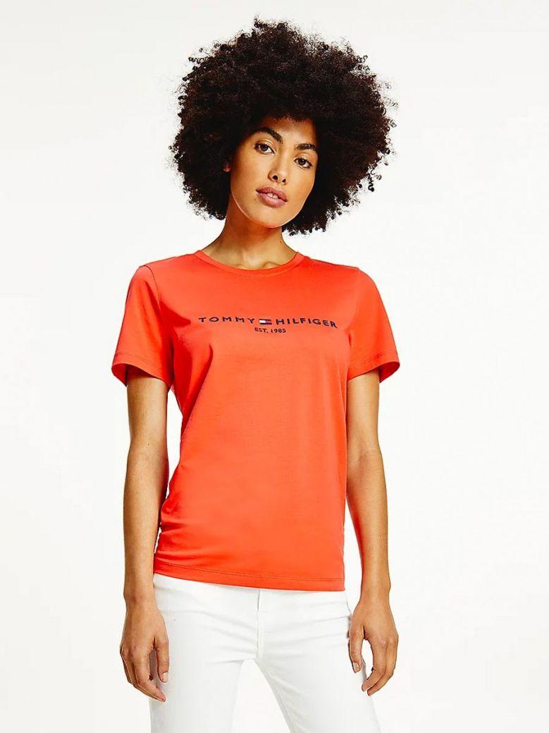 Tommy Hilfiger Essential Crew Neck Logo T-Shirt Scarlet