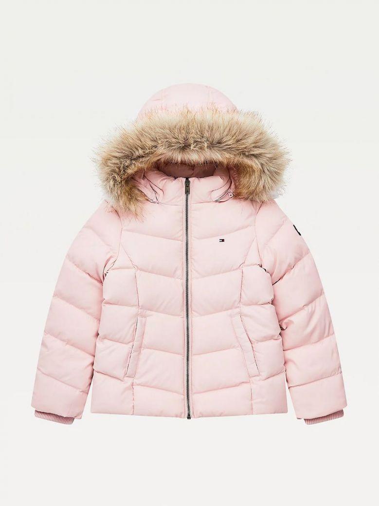 Tommy Hilfiger Essential Down Flag Patch Jacket Pink