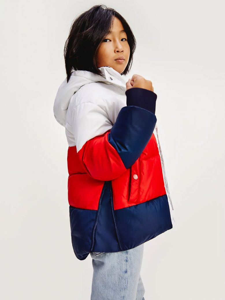 Tommy Hilfiger Essential Signature Colour-Blocked Puffer White Multi
