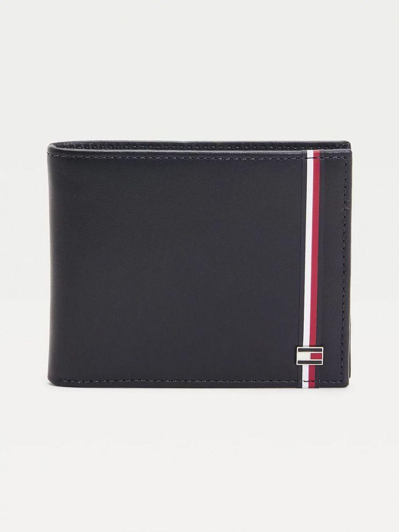 Tommy Hilfiger Established Signature Small Leather Wallet Navy