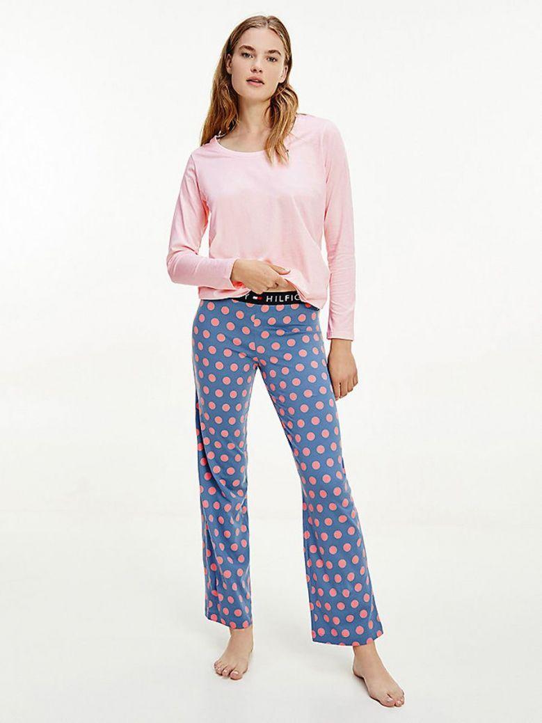 Tommy Hilfiger Long Sleeve Pyjama Set Pink Maxi Polka