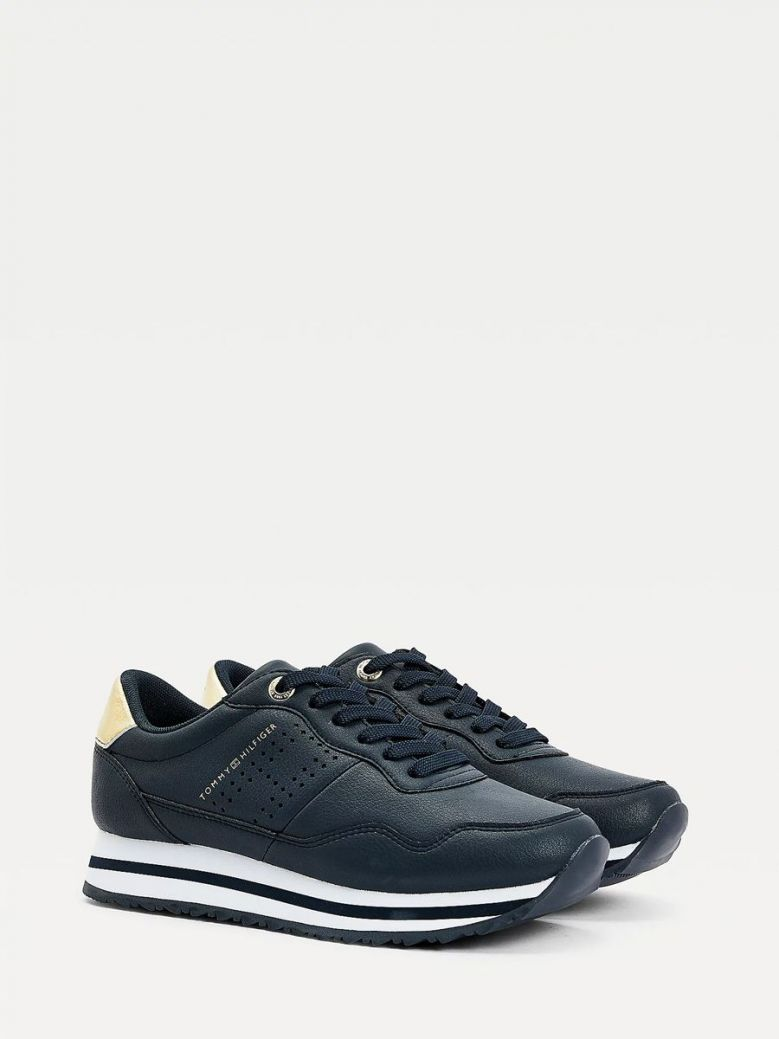 Tommy Hilfiger Metallic Leather Trainers Navy