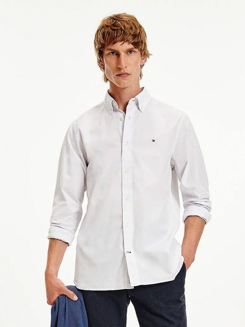 Tommy Hilfiger Natural Soft Print Regular Fit Shirt White Alabaster