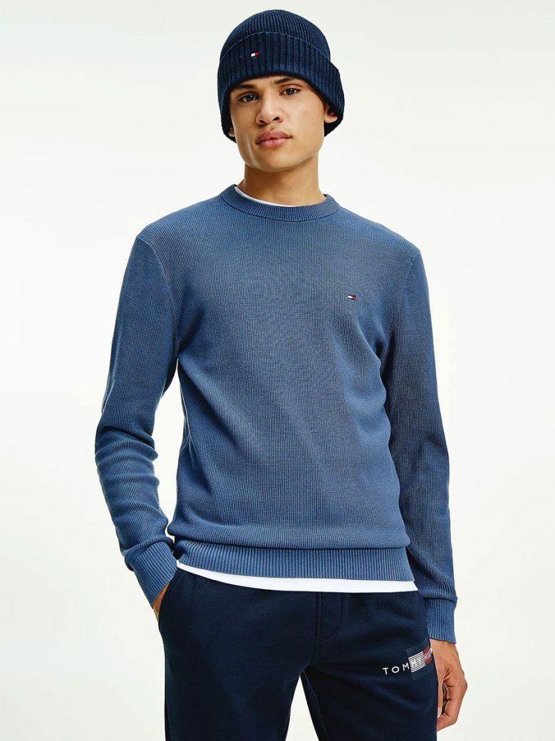 Tommy Hilfiger Pure Organic Cotton Textured Jumper Blue