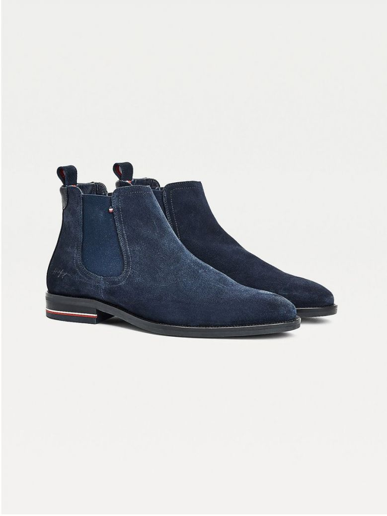 Tommy Hilfiger Signature Suede Chelsea Boots Navy