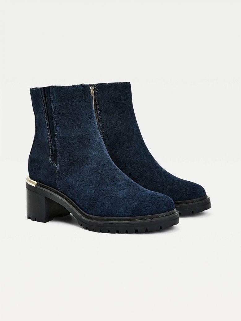 Tommy Hilfiger Suede Block Heel Cleat Boots Navy