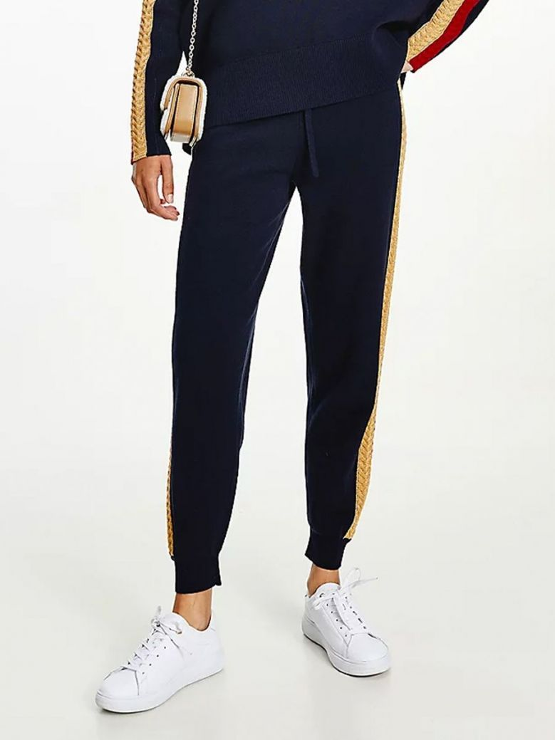 Tommy Hilfiger Textured Stripe Joggers Navy