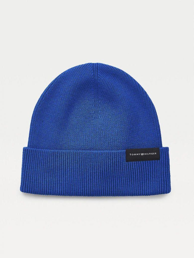 Tommy Hilfiger Uptown Wool Cotton Beanie Blue