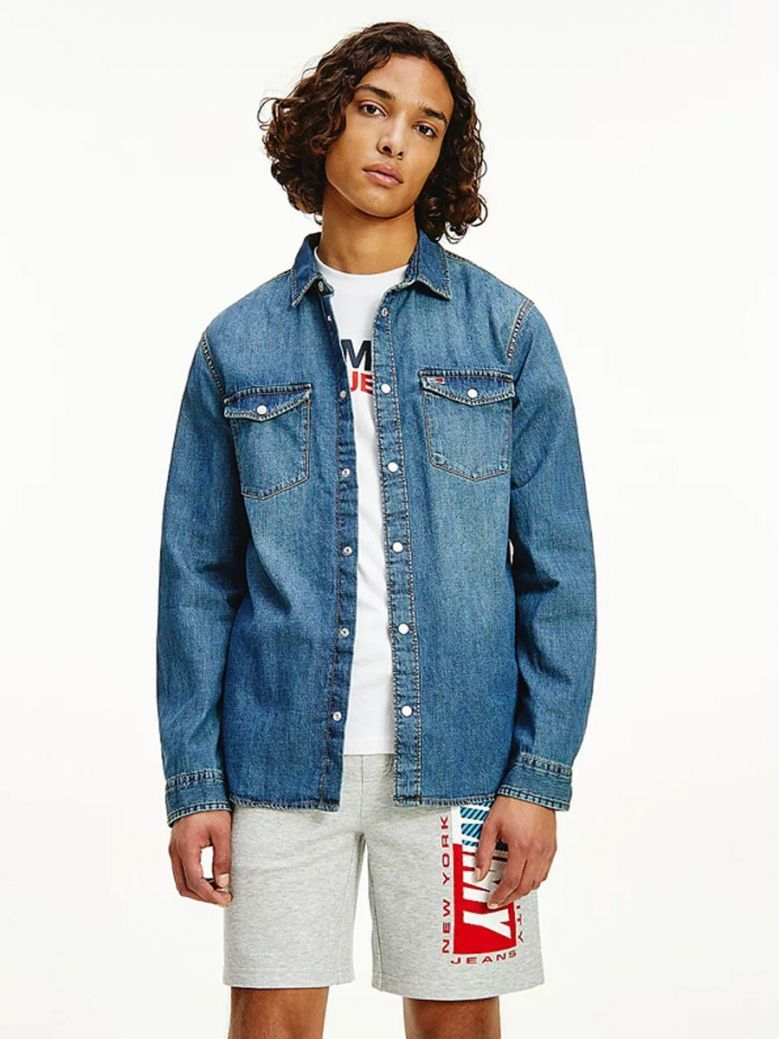 Tommy Jeans Cotton Denim Shirt Mid Indigo