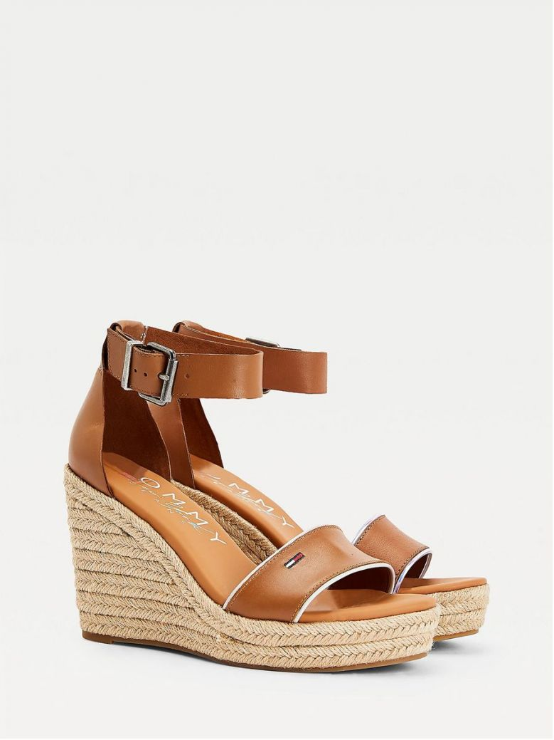 Tommy Jeans Essential Leather Wedge Sandals Tan
